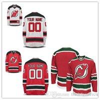 новые черные хоккейные майки оптовых-Сшитые Custom New Jersey Devils мужские женские молодежные Индивидуальные красный белый красный с зеленым черным Персонализированные хоккей с шайбой дешево Jerseys S-4XL