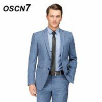 ingrosso vestito di lana blu chiaro-OSCN7 Suit Men Light Blue Lana Wedding Fashion Tailor Made Suit Slim Fit per il tempo libero 2018 Costume Homme Mariage 15953