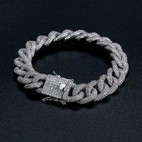 jóias de hip hop de qualidade venda por atacado-Cuba pulseira de melhor qualidade hip-hop pulseira pulseira de diamantes completa micro cubic zirconia homens jóias de cobre chapeamento18k ouro moda