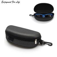 ingrosso custodia per occhiali con cerniera-Custodia rigida nera per occhiali da sole con chiusura a conchiglia per occhiali da sole con cerniera portatile 17 * 7.7 * 6.2cm Grande capacità