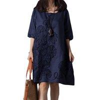 keten işlemeli yazlık elbiseler toptan satış-Casual Yaz Stil Kadın Elbise O-Boyun Gevşek Artı Boyutu Işlemeli Keten Elbise Zarif Kısa Kollu Kadın Giyim