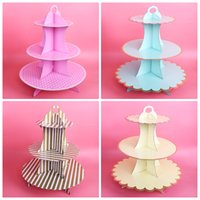 Wholesale wedding shower cupcake cake resale online - 1pcs CM Big Golden Silver luxury Cake Paper Cake Stand Cupcake Holder For Wedding Birthday Baby shower Party Decoration