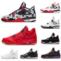 zapatos rojos de fuego al por mayor-Zapatillas de baloncesto Tattoo 4 Singles Day 4s hombres Pure Money Royalty White Cement Raptors Gato negro Bred Fire Red para hombre Zapatillas de deporte Zapatillas de deporte