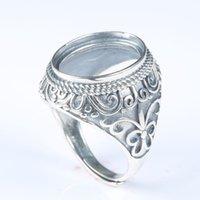 montajes de anillo de boda de la vendimia al por mayor-925 plata esterlina hombres compromiso anillo Vintage Art Deco boda semi montaje anillo Oval Cabochon 14x18mm venta al por mayor DIY piedra