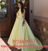 Wholesale open sexy pictures for sale - Group buy Yellow Satin Keyhole Neck Long Prom Dresses Elegant Red Formal Evening Dresses Open Back Sweet Party Gowns Cheap Vestido de fiesta