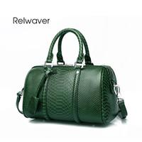 cc7516d955 Relwaver donne borse in vera pelle lusso modello pitone borsa vintage  boston borse in pelle da donna piccola borsa tote verde