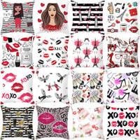 Wholesale soft lip kisses resale online - Lip Kiss Pillowcase x45cm Soft Peach Skin Pillow Cover Valentine Day Wedding Home Decor Pillow Case