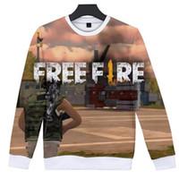 ingrosso vestiti popolari gratuiti-2019 Shooting Game Free Fire 3D Stampa di moda divertente autunno senza cappuccio Maglioni Felpe donne / uomini freddi popolari con cappuccio vestiti casuali
