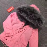 ingrosso regalo grigio della signora-Nuovo arrivo GREY artificiale foderato di pelliccia in cotone di colore rosa Shell regalo Parka per Lady o la moglie
