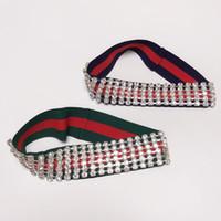 ingrosso signore della fascia-New Luxury Full Strass fascia con elastico buona qualità verde e rosso Stripe Fashion Ladies avvolgere la testa 2 colori