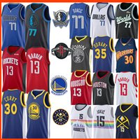 35 camisolas venda por atacado-NCAA James Harden 13 Nikola 15 Jokic 30 35 Jersey Stephen Curry Luka Kevin Durant 77 Doncic Kristaps 6 Porzingis Colégio Baseketball Jerseys