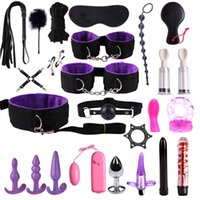 Wholesale bdsm pumps for sale - Group buy Dildo Vibrator Anal Plugs Handcuffs Whip Nipples Clip Blindfold Breast Pump BDSM Games Adult Sex Toys Kit For Couples kit casal CY200520