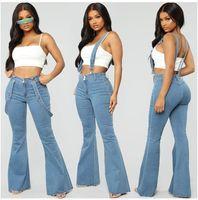 bib tulum denim toptan satış-Kadın Kot Yepyeni kadın Kot Tulum Tayt Önlüğü Genel Denim Pantolon Artı Boyutu Pantolon Yırtık