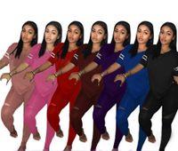 Wholesale short skirt trousers resale online - Women letter Tracksuit T Shirt Tops Pants Trousers Set Outfit Casual Tshirts Sportswear Clothes Suit