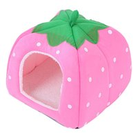 Wholesale strawberry cat beds for sale - Group buy Cute Soft Sponge Strawberry Pet Cat Dog House Bed Warm Cushion Basket Small Size Rosy