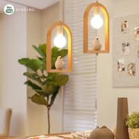 Wholesale fluorescent switch for sale - Group buy TRAZOS Pendant Lights For Angel Bird Living Room LED Lustre Wooden Hanging Light Modern Pendant Lamp Bedroom Kitchen Lights