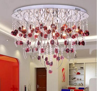 arañas de la sala de vino al por mayor-Post-Modern Creative K9 Crystal Chadelier Willow twig Lámpara de techo LED Wine red Crystal Chandelier Living Room Hotel Lamp MYY
