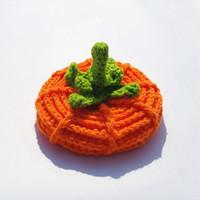 Wholesale free crochet newborn hats for sale - Group buy Free DHL Newborn Unisex Baby Boys Girls Beanie Wool Pumpkin Knit Crochet Hat High Quality For Halloween Caps Yellow Color Festival Cap M219Y
