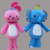 ingrosso abito rosa elefante-2019 di alta qualità Cute Blue Elephant Mascot Costume Pink Rabbit Fancy Party Dress Costumi di Halloween per adulti