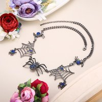 Wholesale austrian crystal choker necklace resale online - Tuliper Halloween Spider Web Animal Necklace Choker Austrian Crystal Rhinestone Necklace For Women Party Jewelry Gift