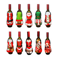 Wholesale ladies holiday clothing for sale - Hot Xmas Small Apron bottle Wine Cover Christmas Sexy Lady Xmas Dog Santa Pinafore red wine bottle wrapper Holiday Bottle clothes Dress