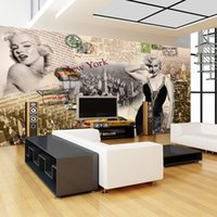 marilyn monroe mural venda por atacado-Marilyn Monroe personalidade art poster papel de parede não-tecido papel de parede pintura quarto sala de estar personalizado grande mural