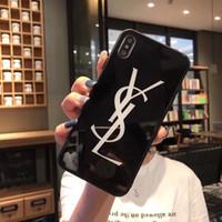 iphone tampa traseira vidro preto venda por atacado-Para iphone xs max xr 8 6 6 s 7 além de preto e branco designer case luxo 9 h dureza de vidro temperado lustroso telefone marca tampa traseira a06