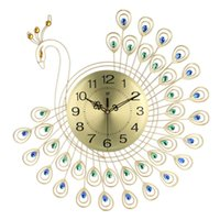 großes wohnzimmer wandkunst großhandel-Große 3D Gold Diamant Pfau Wanduhr Metall Uhr für Zuhause Wohnzimmer Dekoration DIY Uhren Handwerk Ornamente Geschenk 53x53 cm