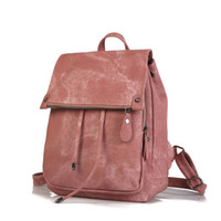 Wholesale trendy girls backpack for sale - Group buy Fashion Trendy Fashion Travelling Girls Stocked Pure Color New Preppy Style Cheap PU Leather School Daily Shoulders Backpack Bag
