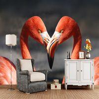 росписи птиц оптовых-Custom birds wallpaper, two flamingo murals for living room bedroom sofa background decorative wallpaper