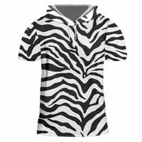 ingrosso grande stampa 3d-Novità 3D Zebra Stripe T-shirt con cappuccio Uomo Donna Leopard Print Brand T-shirt Summer Style Big Size S-7XL Abbigliamento unisex personalizzato
