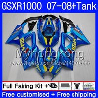 tanques suzuki al por mayor-7Gifts + Tank para SUZUKI GSXR-1000 K7 GSX-R1000 GSXR 1000 07 08 301HM.11 GSXR1000 07 08 Carrocería GSX R1000 2007 2008 Factory Blue hot Fairings