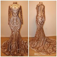 Wholesale nude art pictures resale online - 2019 Sexy Shiny Gold Sequins Evening Prom Dresses Sheath Formal Party Gown Mermiad Luxury Pageant Dress Sweep Train Custom Made