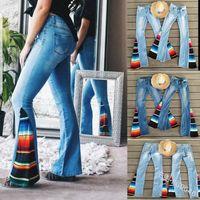 pantalones sueltos al por mayor-Serape bell bottom jeans mujeres pantalones largos sueltos stripe serape jeans blue fashion sexy patchwork elástico pantalones acampanados arcoiris hot AAA2260