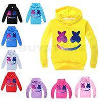 kapüşonlu maske toptan satış-Marshmello DJ Maskesi Çocuklar Uzun Kollu Hoodies Erkek / Kız Genç Çocuklar Kazak Ceket Kapüşonlu Ceket Pamuk Giyim Tops