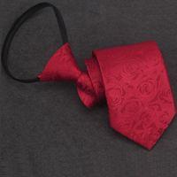 laços chineses venda por atacado-Chinês vermelho zip tie para homens 8 cm neck tie negócio zíper gravata equipe floral rosa sólidos laços moda casamento 2 pçs / lote