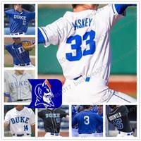 gri mavi beyzbol forması toptan satış-Özel Duke Blue Devils Koleji Beyzbol Herhangi Adı Numarası Beyaz Kraliyet Mavi Siyah Gri # 7 Marcus Stroman 3 Chris Crabtree Formalar S-4XL