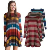 Wholesale plus size women dresses for sale - Women striped Long Sleeve Dress T Shirt Loose Trim Blouse colorful Round Neck Tunic Maternity long Dress AAA1675