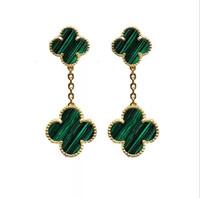 trevo de folha de aço inoxidável venda por atacado-Moda de aço inoxidável de cobre de quatro folhas trevo pingente brincos para as mulheres designer de luxo duplo trevo de jóias