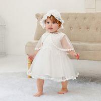 vestido menina arco branco venda por atacado-Meninas recém-nascidas Princesa Vestido Set Sólida Voltar Arco Strap Batizado Vestido Crianças Roupas De Grife Perspectiva Do Laço Xale Branco Appliqued Hat
