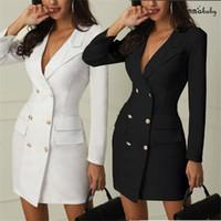 vestido adelgazante para el pecho al por mayor-2019 nuevas mujeres formales delgado doble botonadura larga gabardina outwear vestido foso abrigo cinturón nuevo