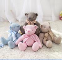 ingrosso animali di peluche a maglia-28cm Teddy Bear Peluche farciti con nodo di prua Design Morbido giocattolo da taglio per bambini Giocattolo farcito