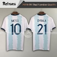 Wholesale america soccer for sale - Group buy 2019 Copa America Argentina Home Blue White Soccer Jersey MESSI Soccer Shirt AGUERO DYBALA short sleeve football Shirt