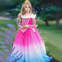 lange kleid kostüme großhandel-1 stücke 2019 Neue Gradien Mädchen Dornröschen aurora Prinzessin Kleid Kinder Langarm Spitze Appliques Ostern Cosplay kostüme Ballkleid Kleider