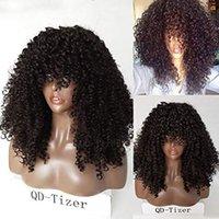 franges de cheveux achat en gros de-perruques de cheveux humains avant de lacet bouclés Afro crépus mongoles avec Bang frange 180% Densité de pré pincées perruque frontale 360 de la dentelle 22inch