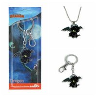 Wholesale zinc toy figures for sale - How to Train Your Dragon Toys Figures Keychains New Fashion Cute Toothless Necklace Pendant Keyring Kids Jewelry CCA11351
