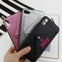 telefones celulares rosa grátis venda por atacado-Slot para cartão de moda rosa phone case design glitter 3d bordado amor capa rosa mobile phone case para iphone x livre dhl