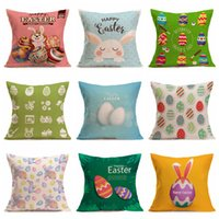 Wholesale custom printed pillows for sale - Group buy Festival Gift cm Easter Egg Pillowcase Single sided Printing Home Decoration Sofa Pillowcase Custom Coffee Shop Pillow Cover DH0829 T03
