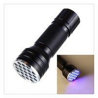 21 führte uv taschenlampe fackel großhandel-21 LED UV Ultraviolett Schwarzlicht Taschenlampe Mini Taschenlampe Tragbare Lampe zum Erkennen von Skorpionen und Bettwanzen