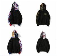 schwarze strickjacke aus baumwolle großhandel-schwarze Tarnung Splicing Druck Pullover Liebhaber Cardigan Mode Persönlichkeit Hoodie Baumwolle Streetwear Hip-Hop Lose Mantel